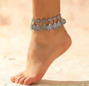cavigliera in metallo plastica e tessuto
